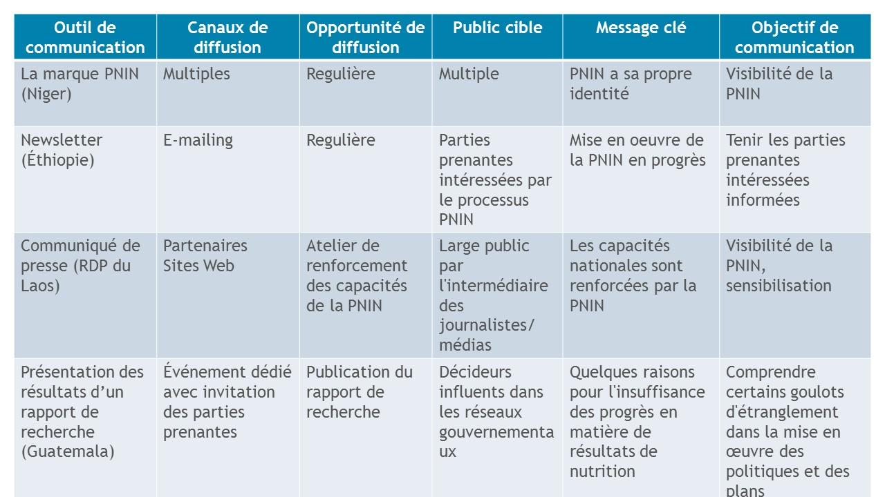 Exemples d'activités de communication des pays PNIN - NIPN